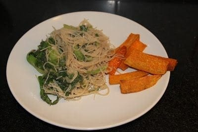 Garlic Peanut Noodle & Sweet Potato Fries