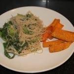 Garlic Peanut Noodle & Sweet Potato Fries