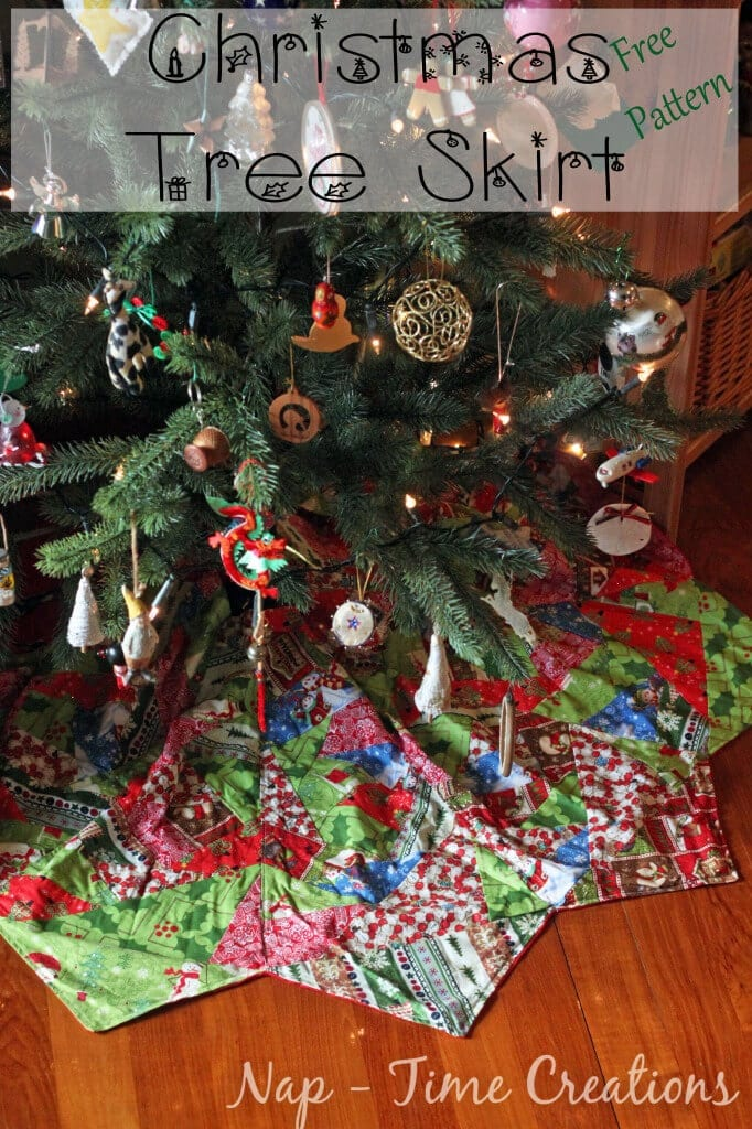 """Paper Piecing Christmas Tree Skirt Tutorial"" Free Pattern designed by Emily from Life Sew Savory"