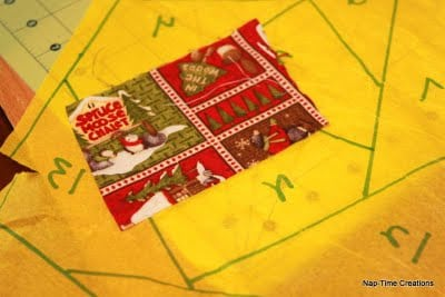 paper piecing tree skirt for Christmas