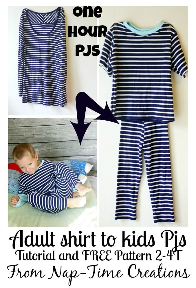 one hour pjs tutorial #sewforkids #freepattern #sewing