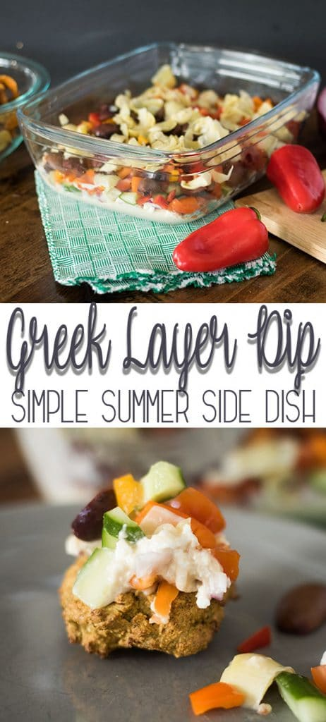 7 layer greek dip recipe for a summer side dish with greek flavors from Life Sew Savory