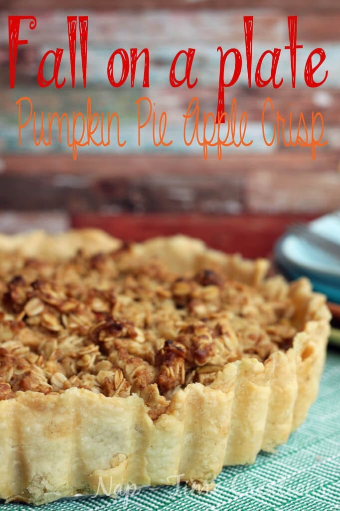 Pumpkin Pie Apple Crisp a apple and pumpkin dessert for fall baking from Life Sew Savory