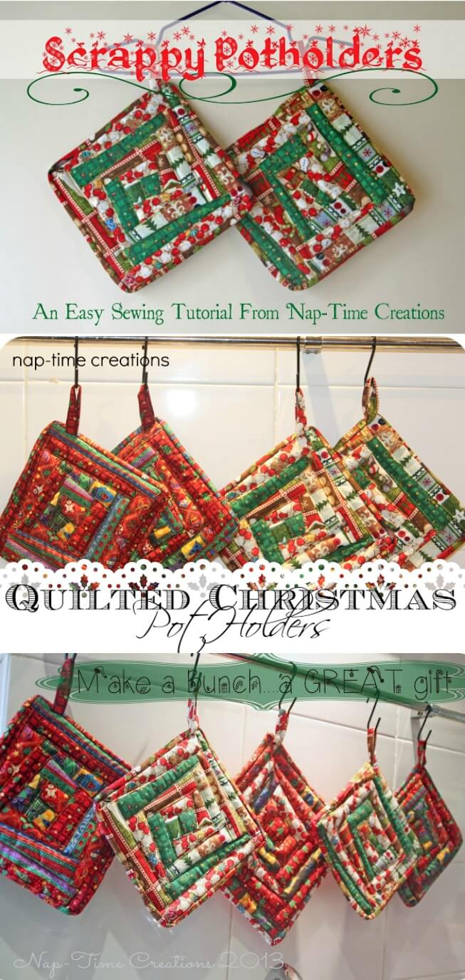 Christmas Potholder Tutorial an easy sewing tutorial from Nap-Time Creations