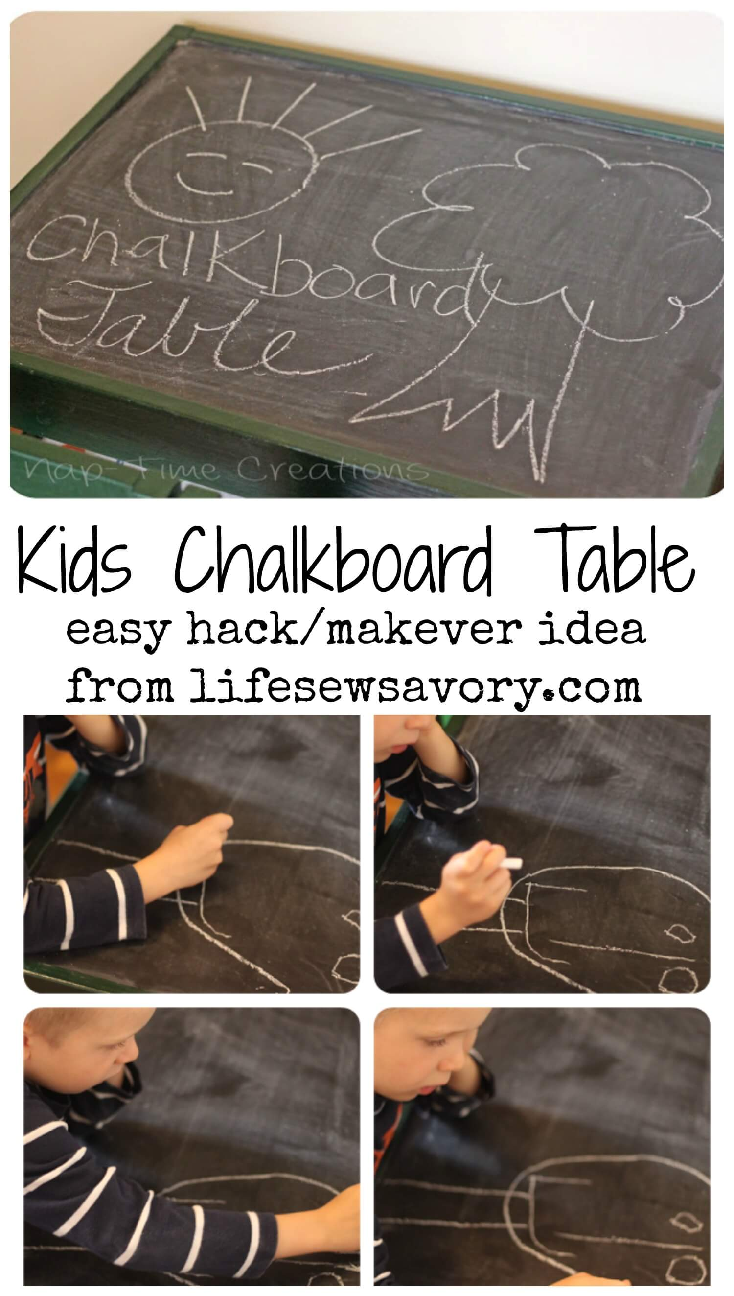 kids chalkboard table - easy DIY IKEA hack from Life Sew Savory