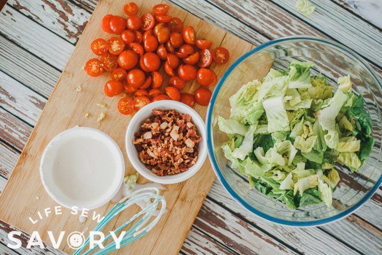ingredients for bacon lettuce and tomato salad