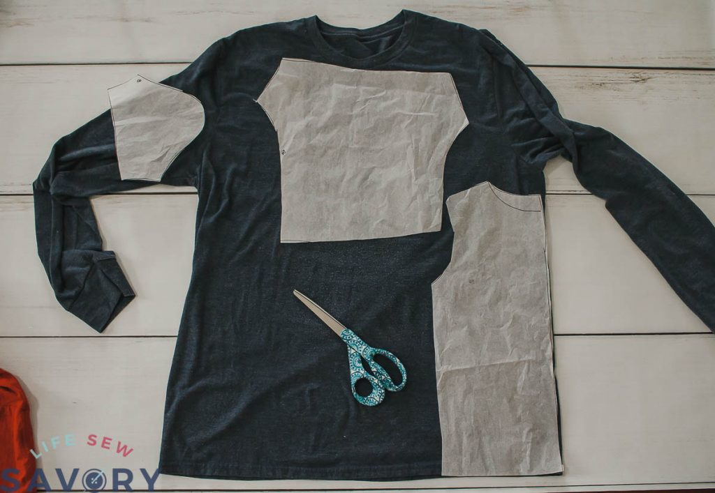 cut layout for upcycled mens shirt
