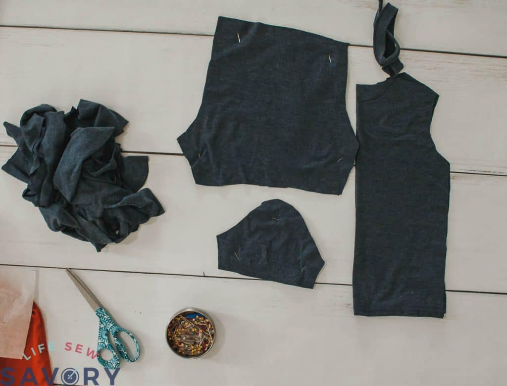 cutting up a mens shirt to make kids pjs