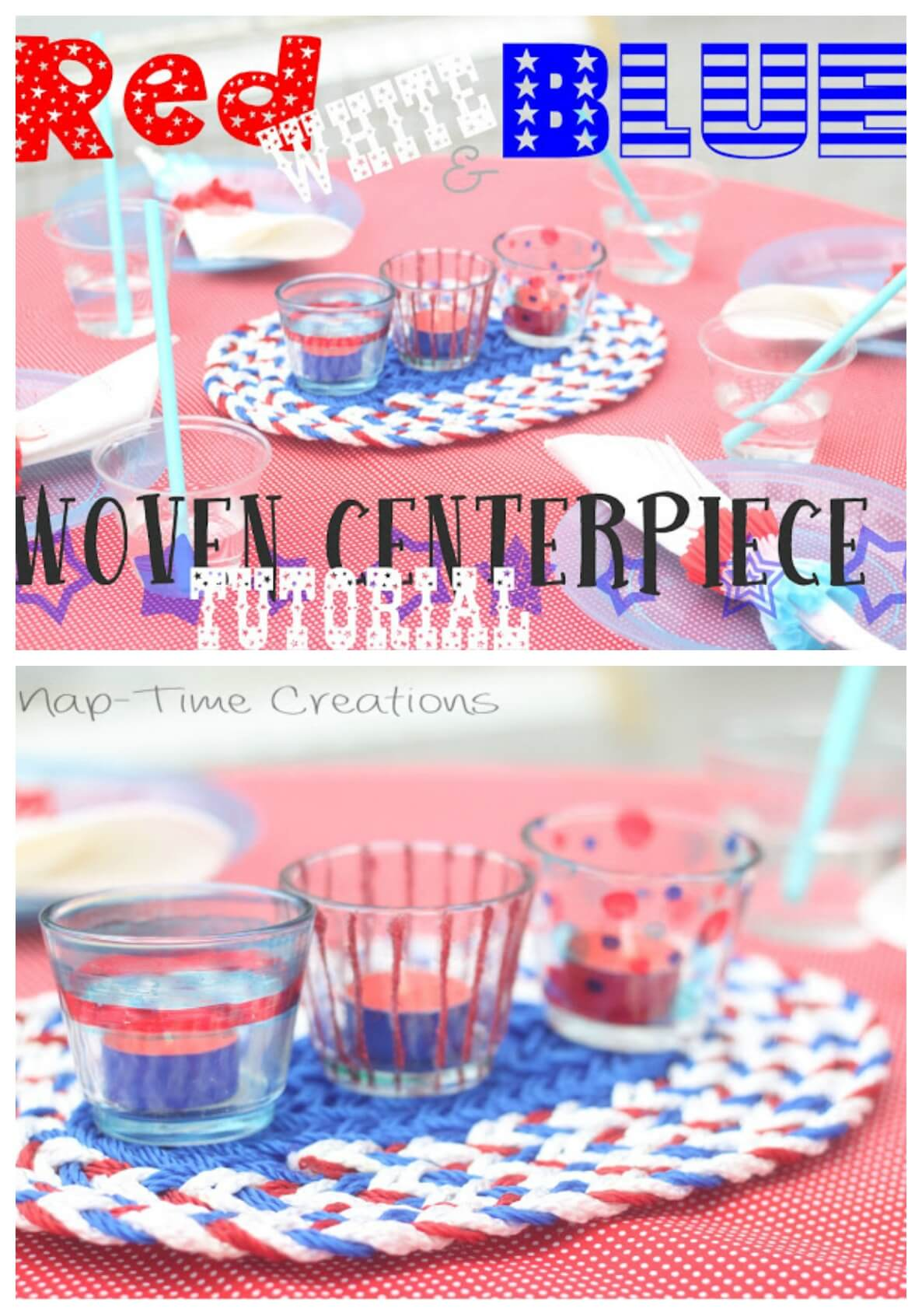 Red White and Blue Tea light candles easy DIY for July 4th Table Decor