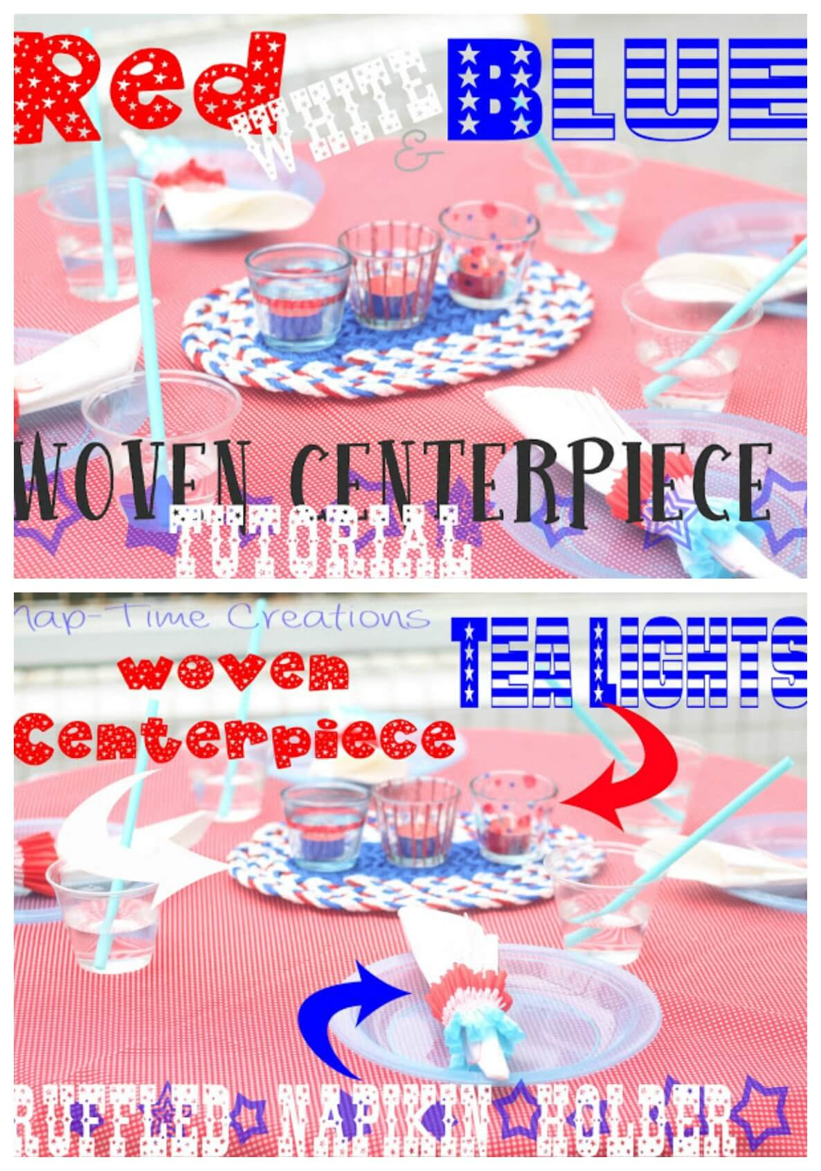 red white and blue table decor easy diy tutorials