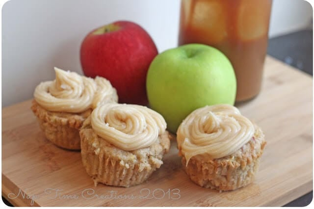 Apple Cupcakes with caramel frosting