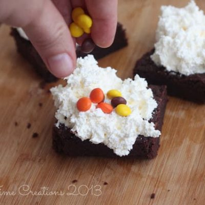 Peanut Butter Brownies with Cheese-Cake Fluff Easy Dessert Recipe