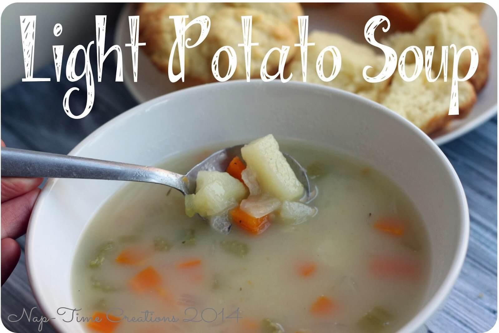 Light Potato Soup {Comfort Food Round Up!}