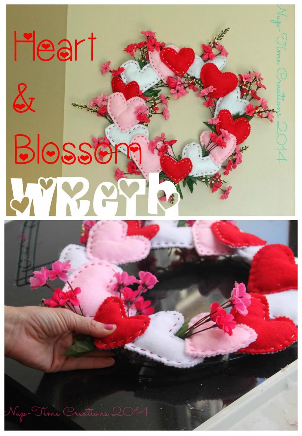 easy felt valentines wreath from Nap-Time Creations