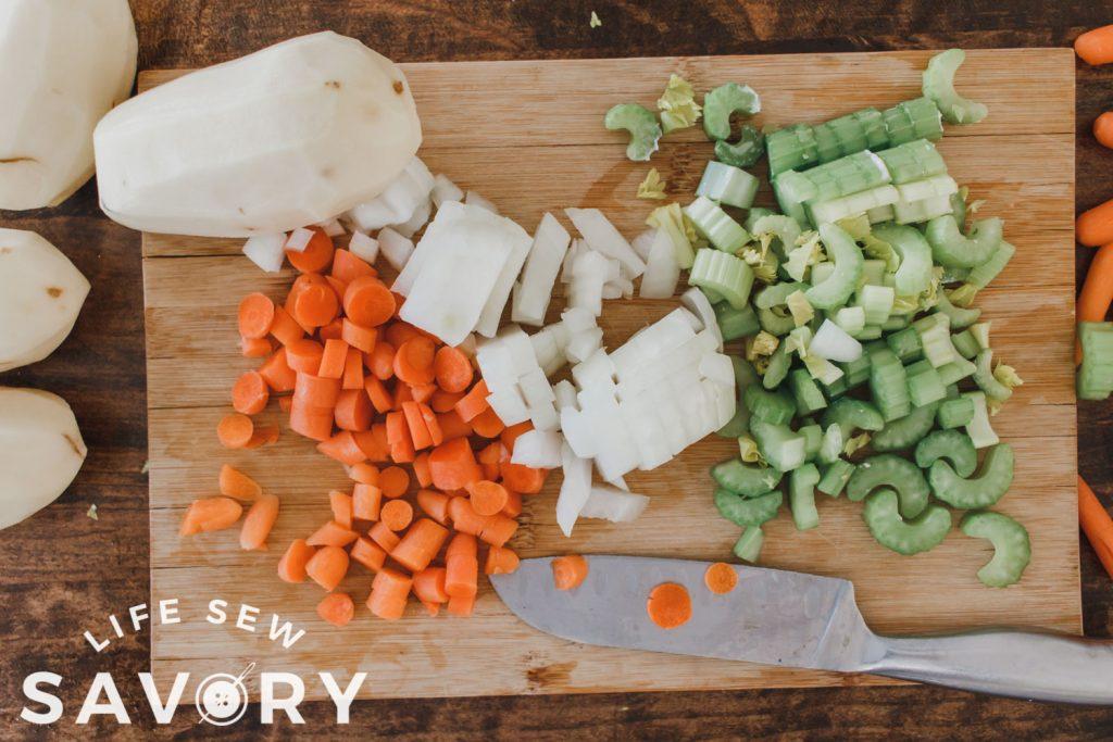 chopped veggies for potato soup
