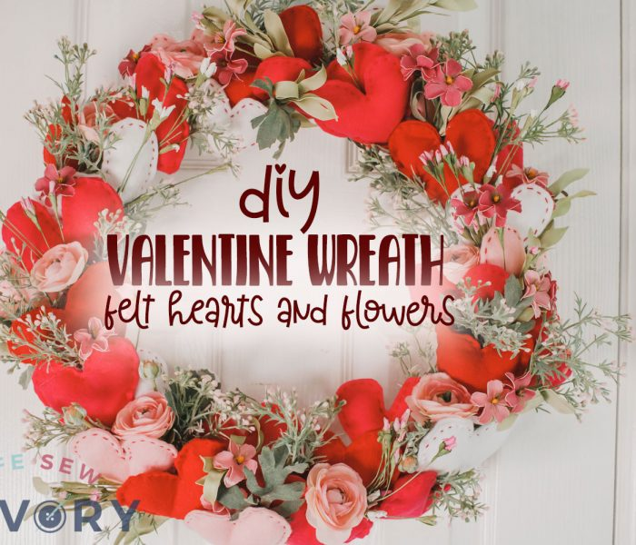 valentine wreath with felt hearts and flowers