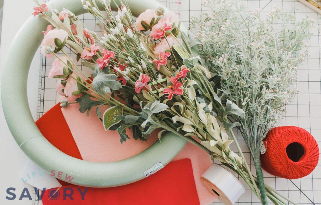 felt valentine wreath supplies