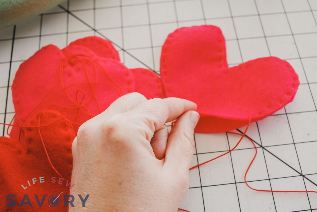 sew hearts leave opening