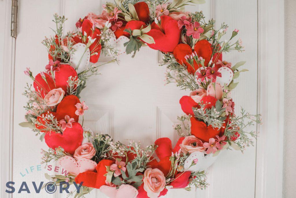 felt heart and floral wreath
