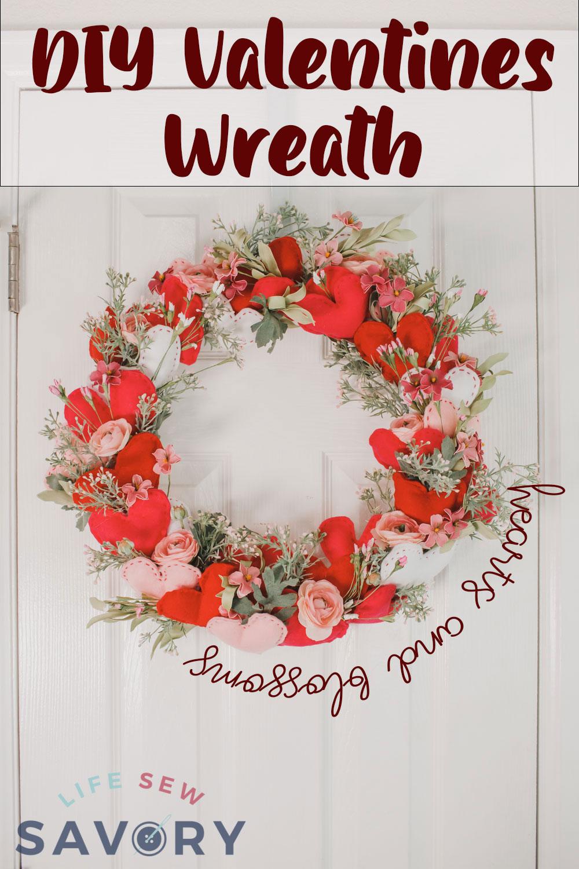 felt heart valentine wreath tutorial