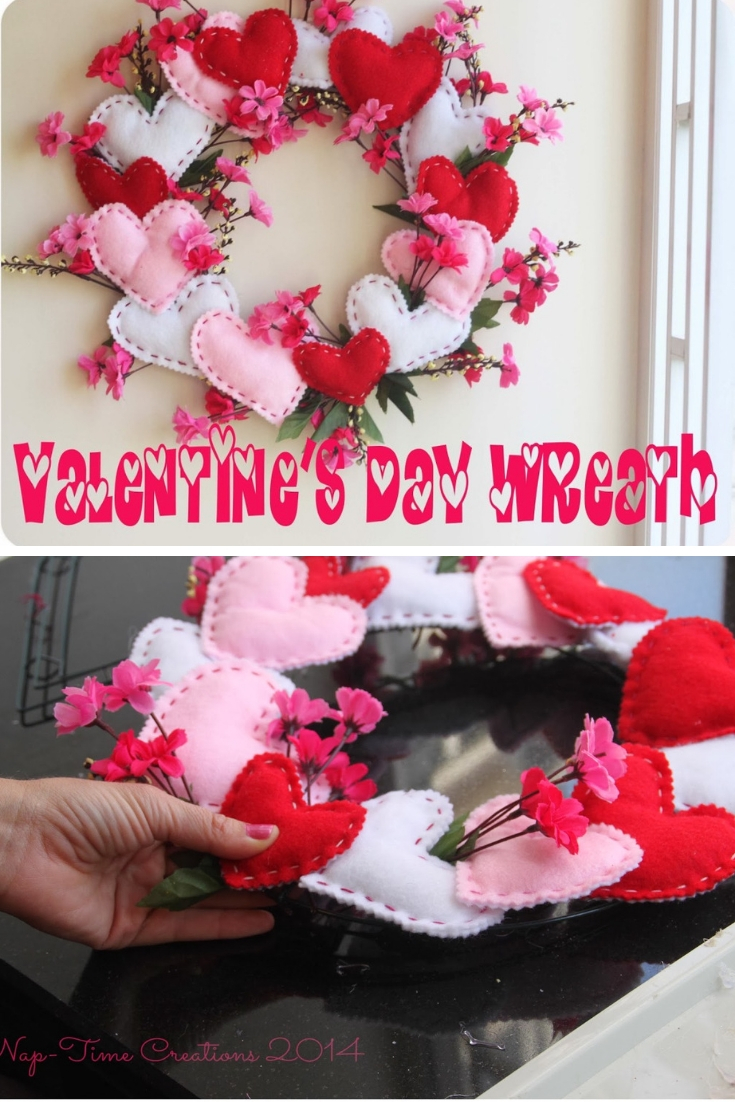 Valentines Wreath with felt hearts and flower blossoms easy DIY tutorial from Life Sew Savory