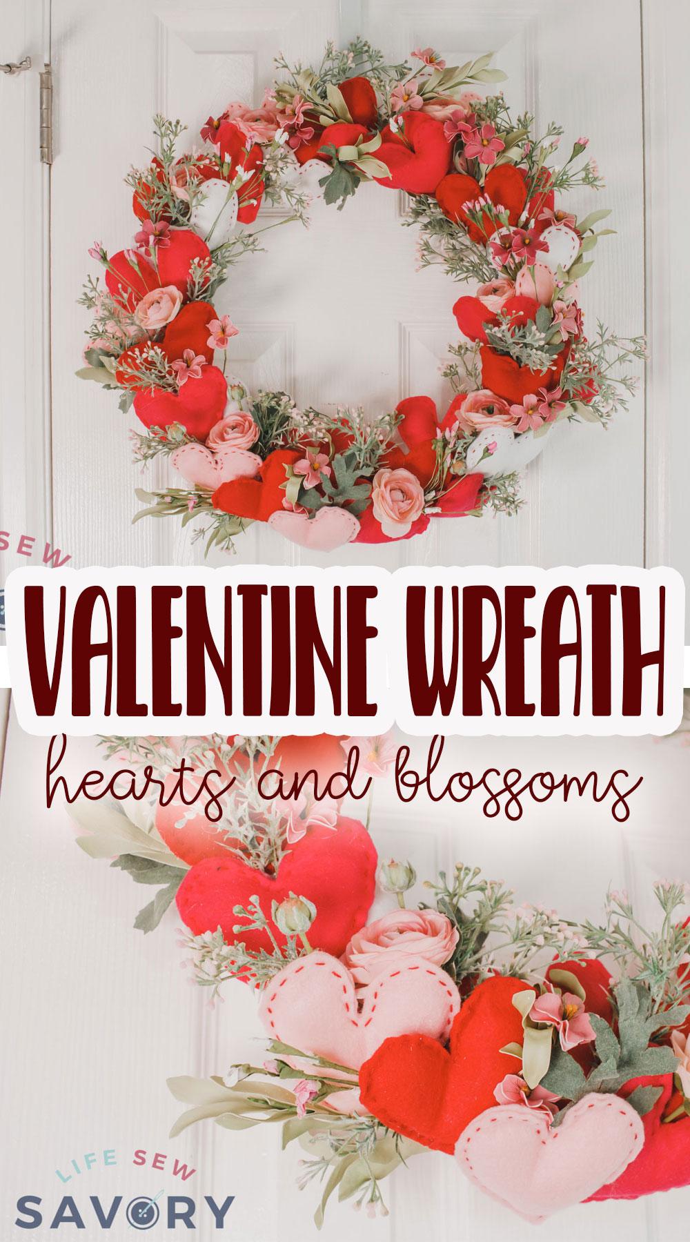 valentine wreath diy tutorial with felt hearts and flowers