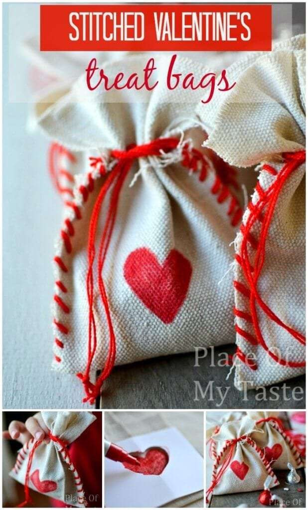 Stitched Valentines Treat bags