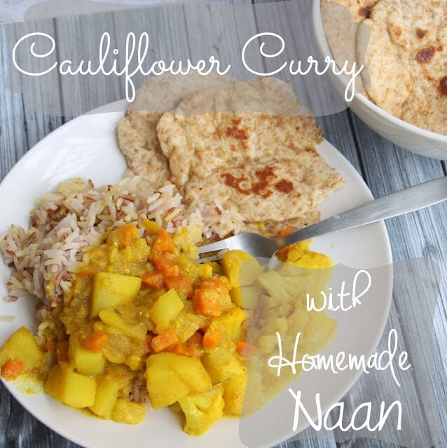 Cauliflower Curry with homemade naan from Life Sew Savory