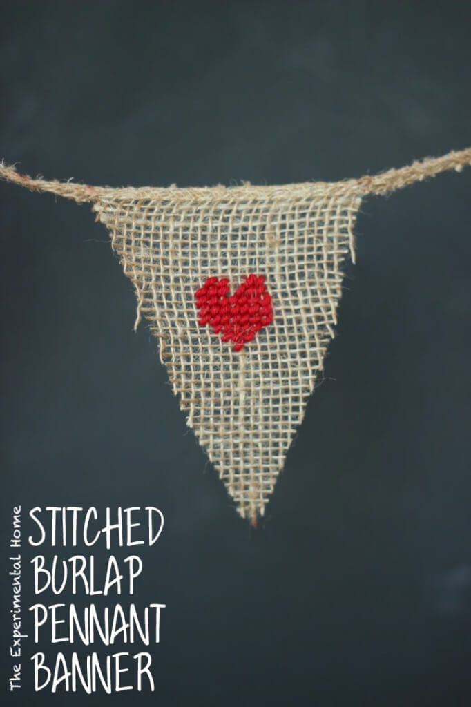 Stitched pennant  heart banner