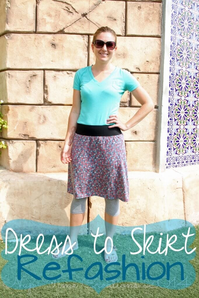 Dress to Skirt refashion easy sewing tutorial from Life Sew Savory