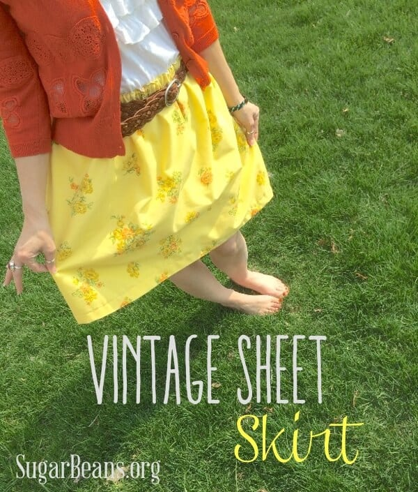 Vintage sheet to a lined skirt. SugarBeans
