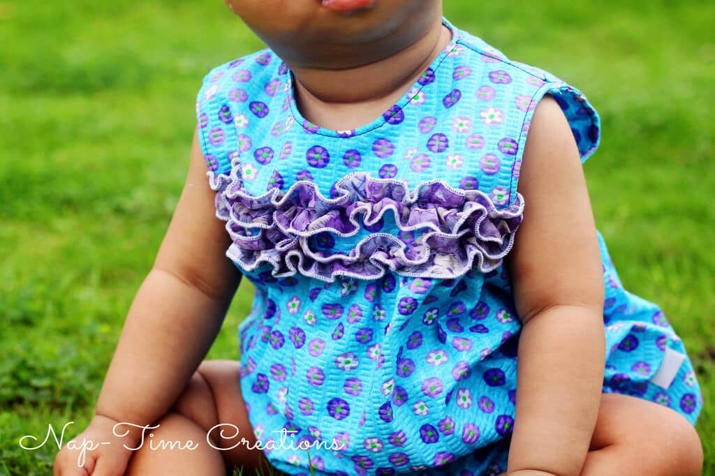 Free Romper Pattern Size 0-9 months. #sewing #sewingforkids #baby #freepattern