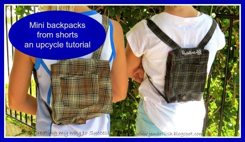 Mini backpacks from shorts