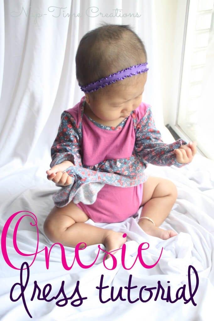 Easy Onesie Dress Tutorial #sewing #tutorials #sewingforbaby