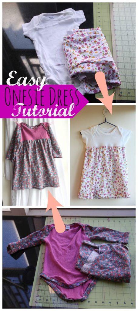 easy onesie dress tutorial #sewing #sewingforbaby #sewingtutorial