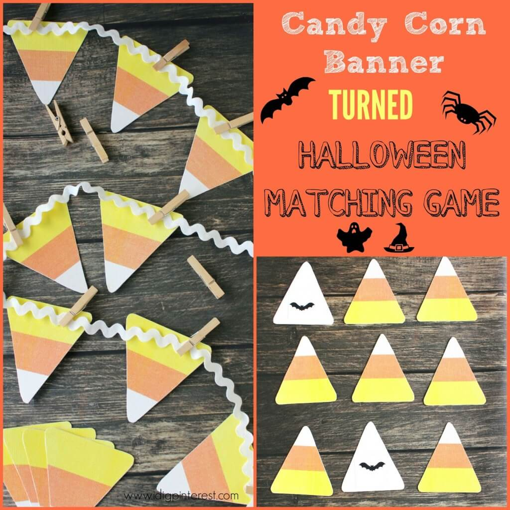 Candy Corn Banner and Halloween Matching Game Collage
