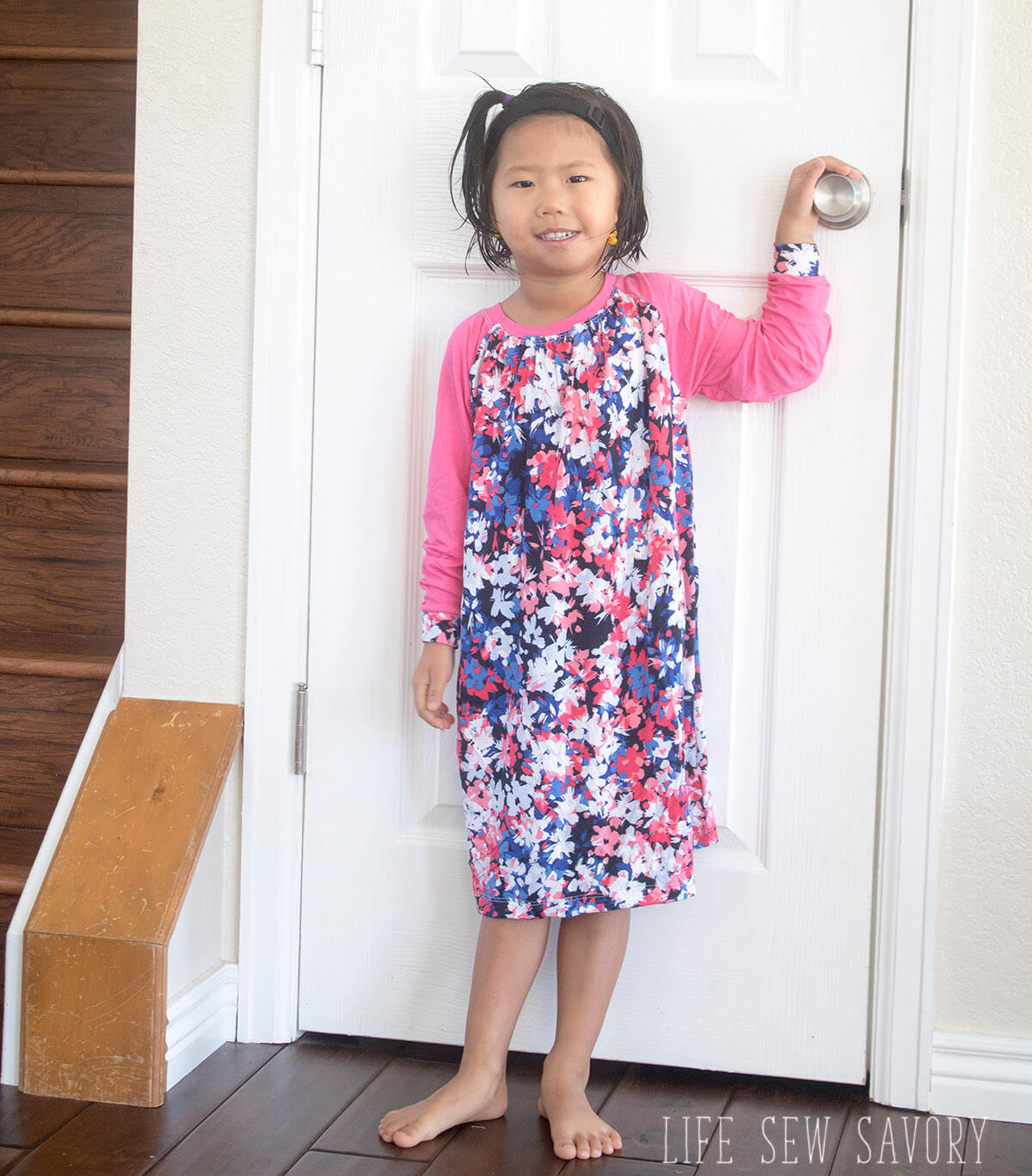 Raglan shirt dress free sewing pattern