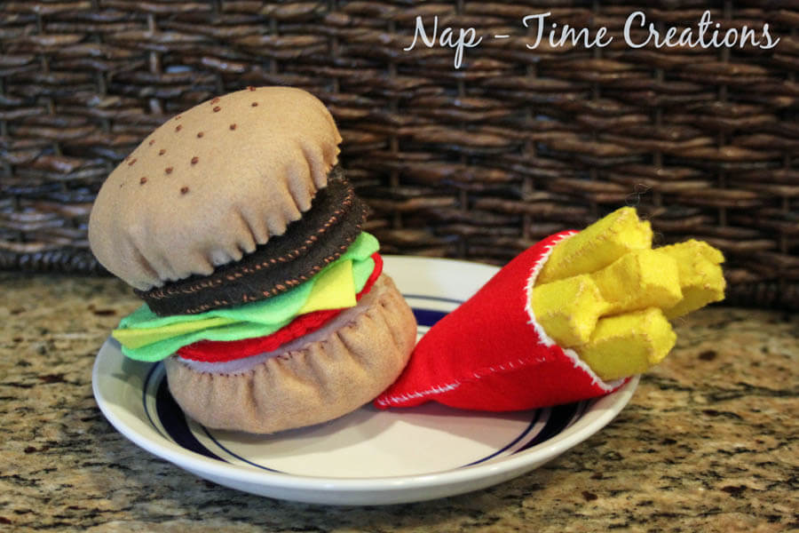 felt food hamburger and fries