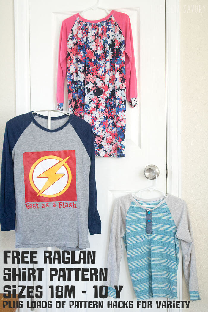 free raglan shirt pattern sizes 18m-10y for boys and girls from Life Sew Savory