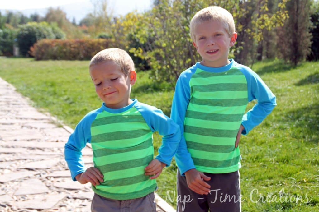 Free Raglan shirt pattern for boys and girls sizes 18m - 10y