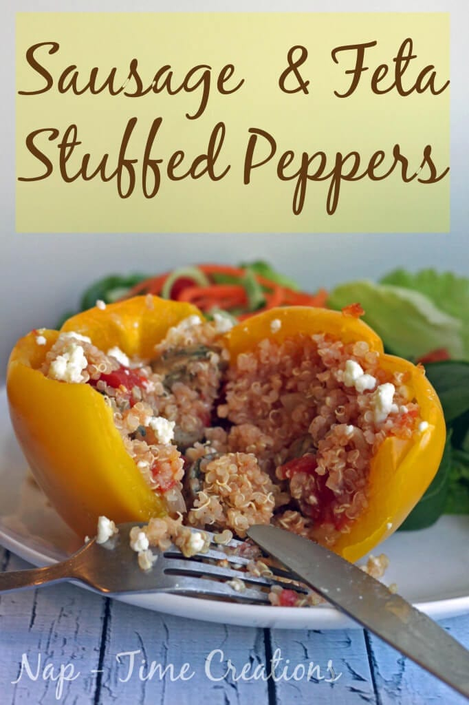 sausage and feta stuffed peppers with Quinoa from Life Sew savory