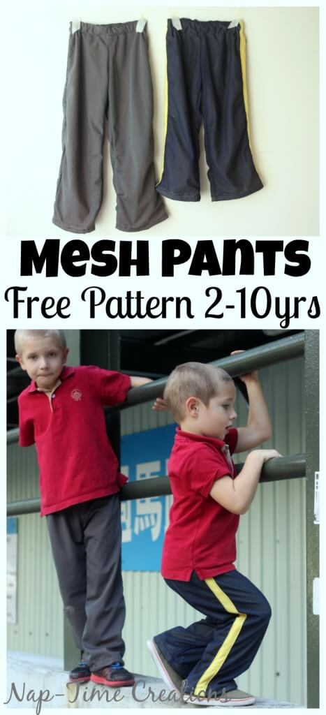 Kids Mesh Pants free sewing pattern size 2-10 from Life Sew Savory