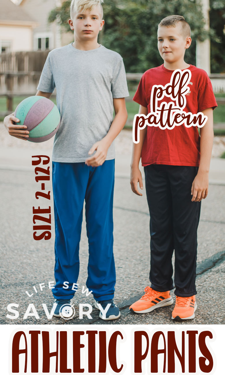 A free kids mesh pants pattern and tutorial. Download and sew the free athletic pants pattern for a loose fit athletic pants for your kids. Easy to sew and great to wear.