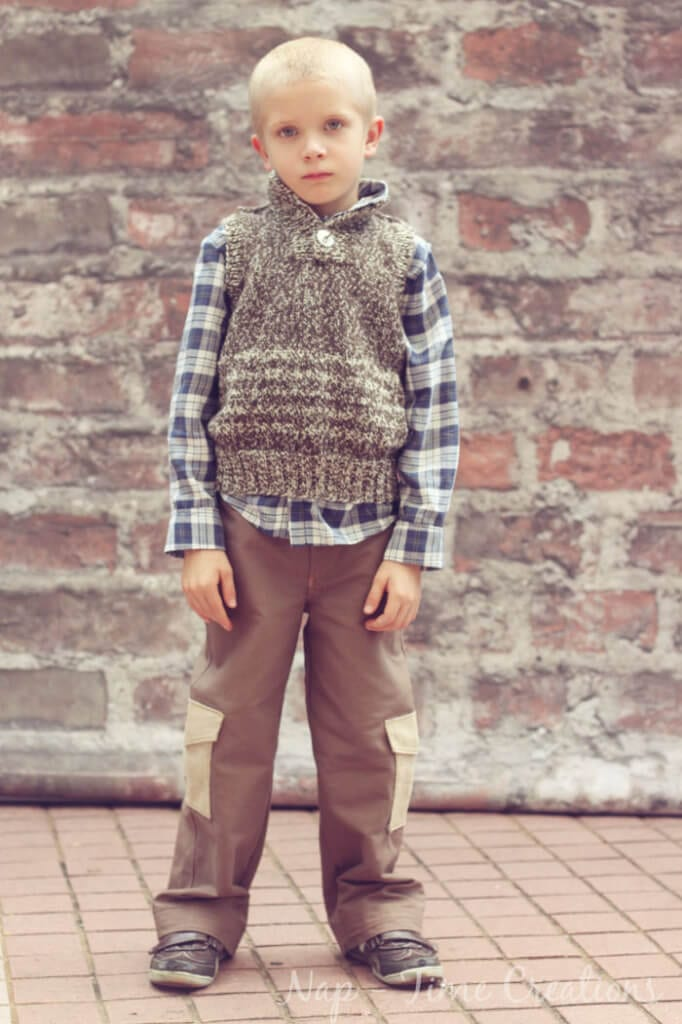 Cargo Pants Inspired by the Hunger Games Gale Character {yum!} Post also includes a free cargo pocket pattern and tutorial. free sewing pattern, sewing for kids, on Nap-Time Creations