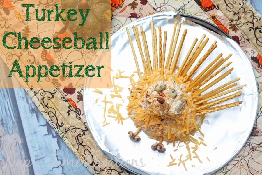 turkey cheese ball appetizer with pretzels