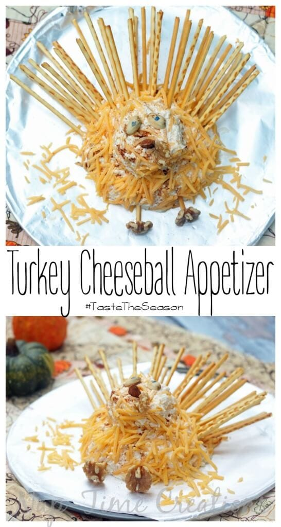 turkey cheeseball appetizer Thanksgiving recipe from Life Sew Savory