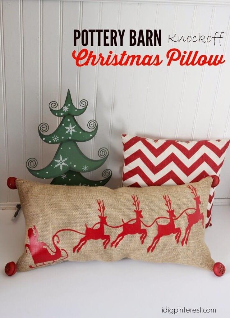 Pottery Barn Santa Christmas Pillow
