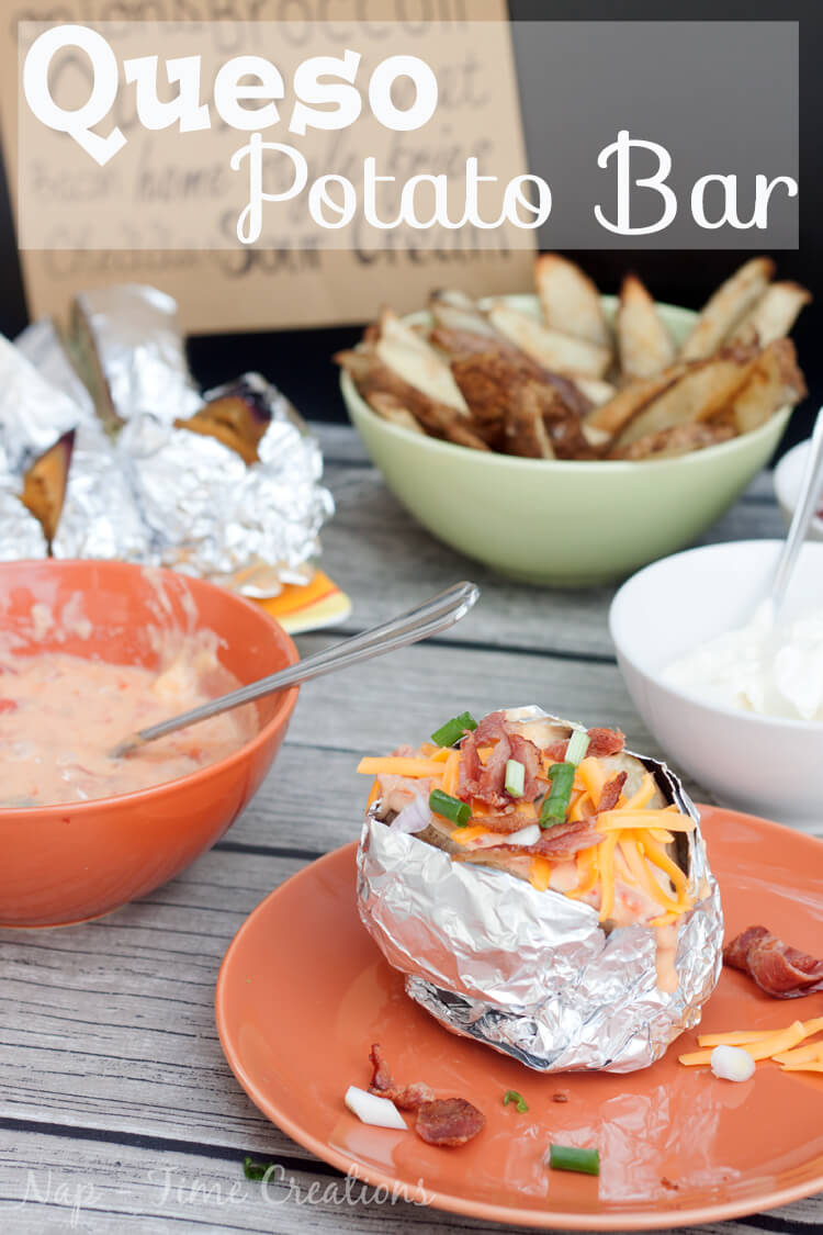 Queso potato bar with Rotel and Velveeta. Perfect for parties and meals with friends. Party Food from Nap-Time Creations