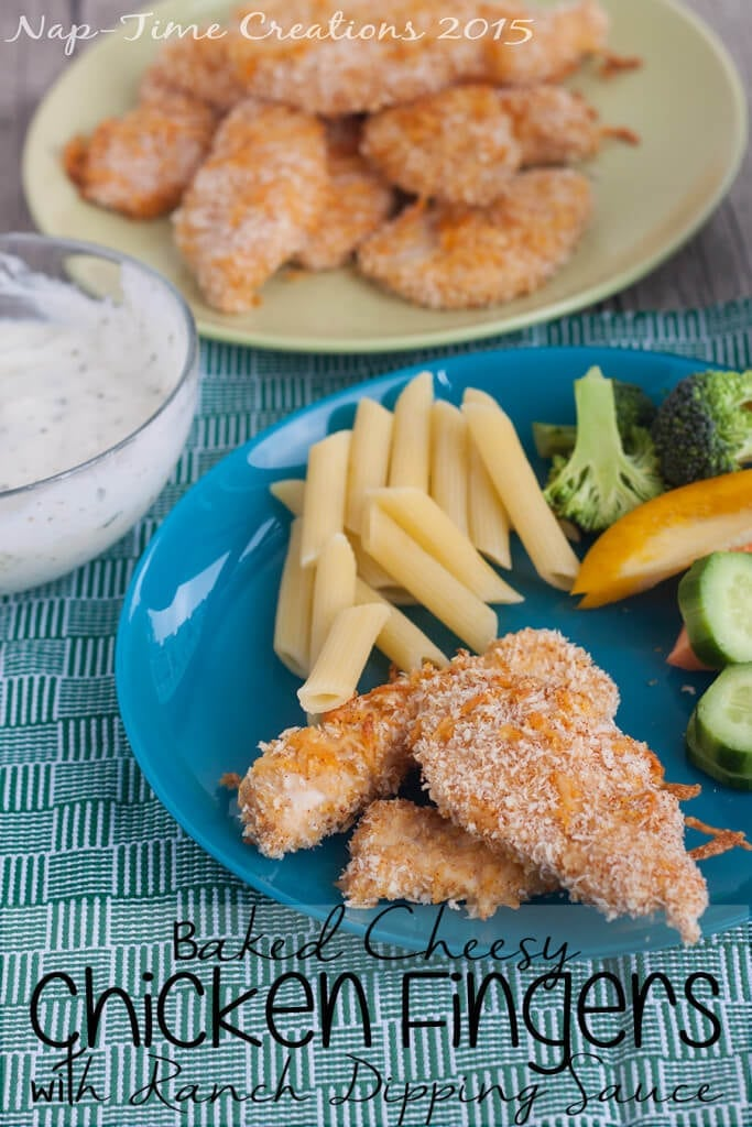 baked cheesy chicken fingers with ranch dipping sauce from Nap-Time Creations