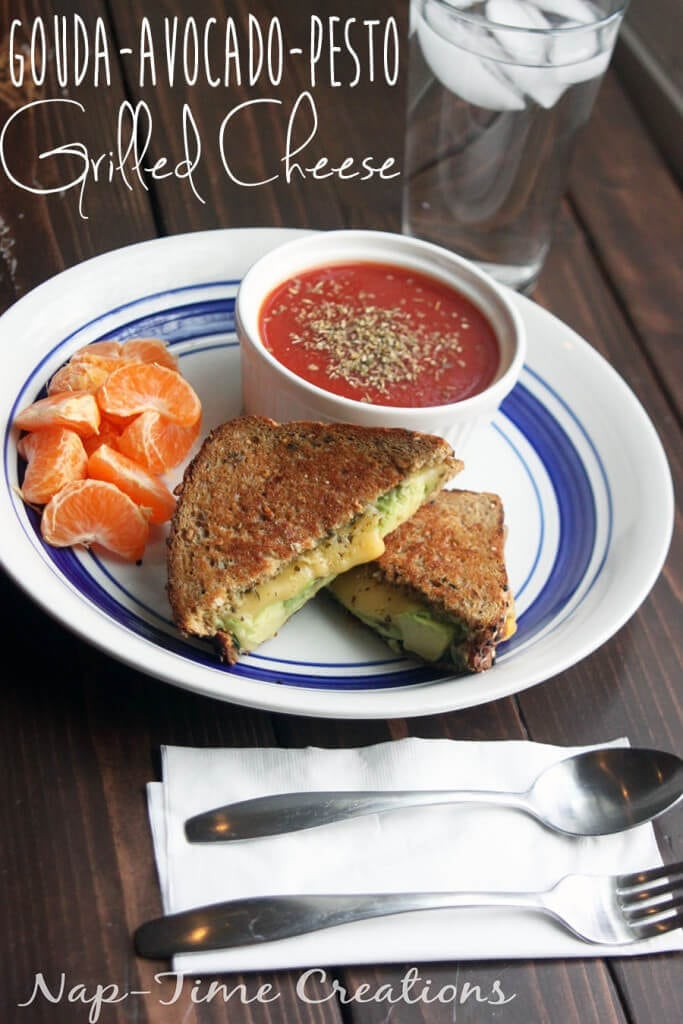 gouda avocado pesto Grilled Cheese sandwich from Nap-Time Creations #GooeyGoodness Naturally Delicious Grilled Cheese